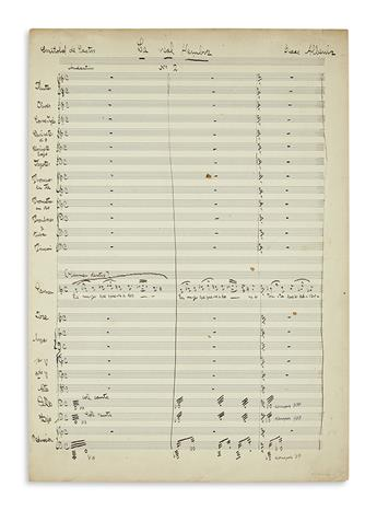 ALBÉNIZ, ISAAC. Autograph Musical Manuscript Signed, fragment of the orchestral score for his unfinished zarzuela La real hembra,