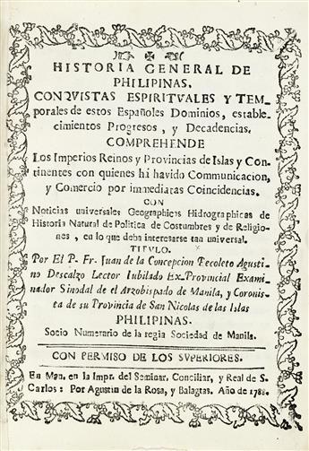 PHILIPPINES  CONCEPCIÓN, JUAN DE LA. Historia General de Philipinas. 14 vols. 1788-92.  Murillo Velarde map in well-executed facsimile.