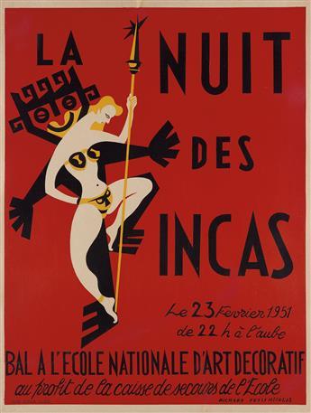 RICHARD PETITNICOLAS (DATES UNKNOWN). LA NUIT DES INCAS / BAL A LECOLE NATIONALE DART DECORATIF. 1951. 32x24 inches, 81x61 cm. A.D.I.