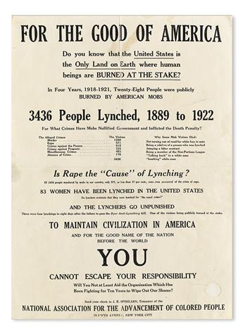 (CIVIL RIGHTS.) NAACP. For the Good of America. Do You Know that the United States is the Only Land on Earth where Human Beings are Bu