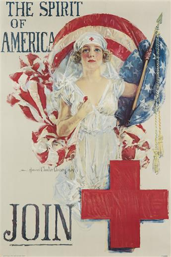 HOWARD CHANDLER CHRISTY (1873-1952). THE SPIRIT OF AMERICA / JOIN. 1919. 30x20 inches, 76x58 cm. Forbes, Boston.