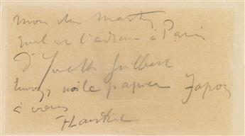 TOULOUSE-LAUTREC, HENRI. Autograph Note Signed, T-Lautrec, to publisher André Marty, in pencil, in French, on a postcard: