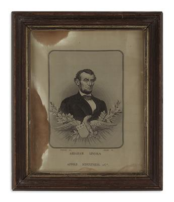 (PRINTS--MEMORIAL.) Carquillat, after Allardet. Woven silk portrait of Lincoln.