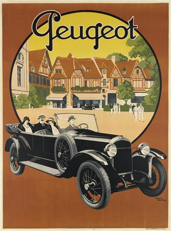 ROGER BRODERS (1883-1953). PEUGEOT. 1923. 62x46 inches, 157x116 cm. Affiches Broders, Epinay.