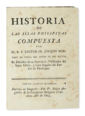PHILIPPINES  MARTÍNEZ DE ZÚÑIGA, JOAQUÍN. Historia de las Islas Philipinas. 1803