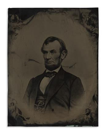 (PHOTOGRAPHY.) Buttre-Momberger 1865 engraving of Lincoln, with a tintype copy.