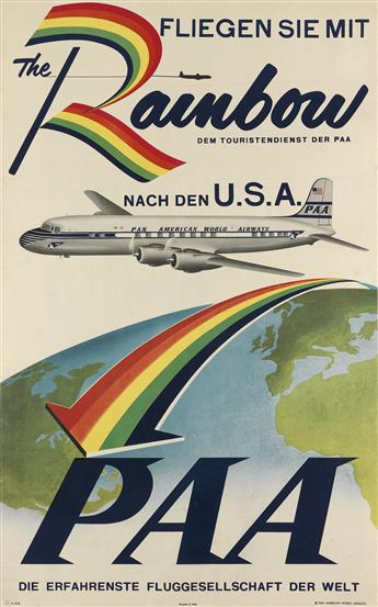 DESIGNER UNKNOWN. THE RAINBOW / PAA. Circa 1954. 39x24 inches, 101x63 cm.