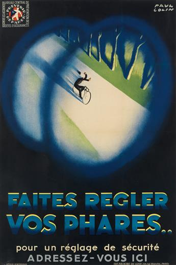PAUL COLIN (1892-1986). FAITES REGLER VOS PHARES . . 45x29 inches, 114x75 cm. Bore de Loisy, Paris.