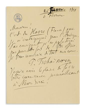 TCHAIKOVSKY, PYOTR ILYICH. Autograph Letter Signed, P. Tschaikovsky, in French, to dramatic agent Edmund Gerson (Sir!),