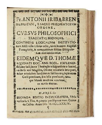 PHILIPPINES  IRIBARREN. Cursus philosophici tractatus secundus. Continens Logicalium institutionum Aristotelis libros octo. 1734