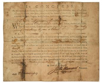 (AMERICAN REVOLUTION--SIGNER.) HANCOCK, JOHN. Partly-printed Document Signed, as President of the Continental Congress,