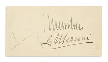 MARCONI, GUGLIELMO; AND BENITO MUSSOLINI. Two items, each Signed by both (Mussolini / G Marconi).