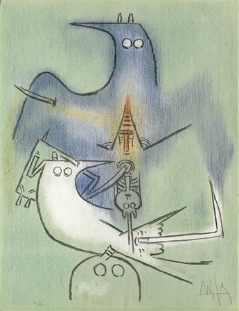 WIFREDO LAM Two color lithographs from Pleni Luna.