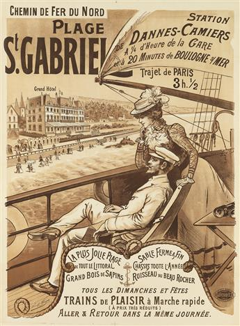 DESIGNER UNKNOWN. PLAGE ST. GABRIEL. Circa 1900. 39x29 inches, 100x73 cm. Camis, Paris.