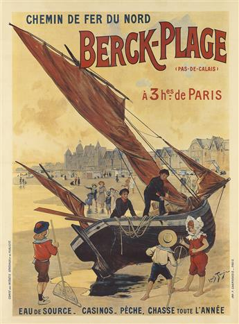 LOUIS TAUZIN (1845-1914). BERCK - PLAGE / CHEMIN DE FER DU NORD. Circa 1910. 41x30 inches, 104x76 cm. F. Champenois, Paris.