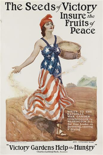 JAMES MONTGOMERY FLAGG (1870-1960). THE SEEDS OF VICTORY INSURE THE FRUITS OF PEACE. 1918. 33x22 inches, 83x56 cm.