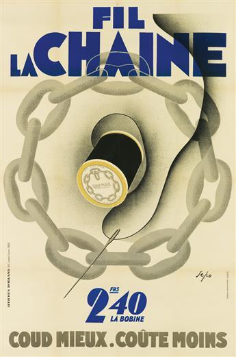 SEPO (SEVERO POZZATI, 1895-1983). FIL LA CHAINE. 1930. 59x39 inches, 150x99 cm. Affiches Dorland, Paris.