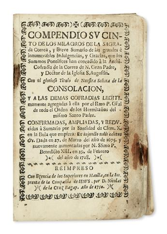 PHILIPPINES  (ARCHCONFRATERNITY OF OUR LADY OF CONSOLATION.) Compendio Sucinto de los Milagros [etc.]. 1750