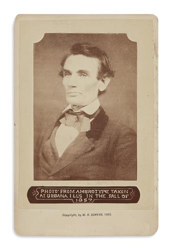 (PHOTOGRAPHY.) [Alschuler, Samuel G.; photographer.] Cabinet card of a very early Lincoln ambrotype.