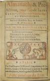 NOSTRADAMUS, MICHEL DE.  1567  Almanach & Predictions, pou lan . . . mil cinq cens Soixa[n]te-sept. An Embolismal.