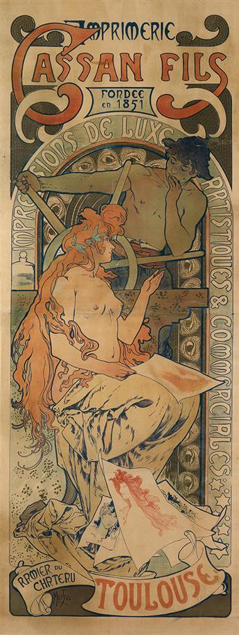 ALPHONSE MUCHA (1860-1939). CASSAN FILS. 1896. 69x26 inches, 175x67 cm. Cassan Fils, Toulouse.