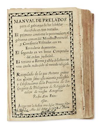 PHILIPPINES  MANUSCRIPT.  Manual de Prelados. Manuscript in Spanish on Asian paper. 1673. Lacks 2 leaves.