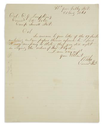 (CIVIL WAR.) ROBERT E. LEE. Brief Autograph Letter Signed, RELee / Commg Genl, to Colonel Christopher Q. Tompkins:e...