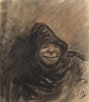 GUSTAVE DORÉ (Strasbourg 1832-1883 Paris) Study of a Hooded Man.
