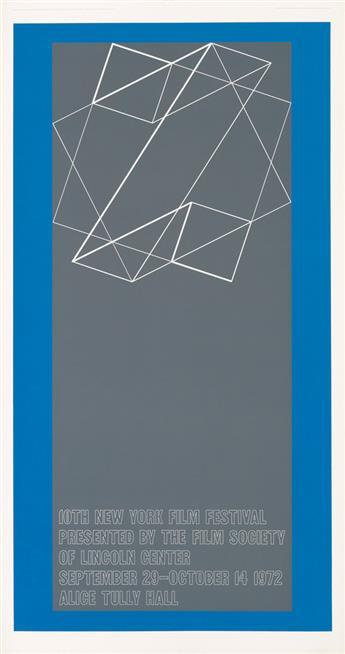 JOSEF ALBERS (1888-1976). 10TH NEW YORK FILM FESTIVAL / LINCOLN CENTER. 1972. 50x26 inches, 127x66 cm. HKL Ltd., [Boston.]