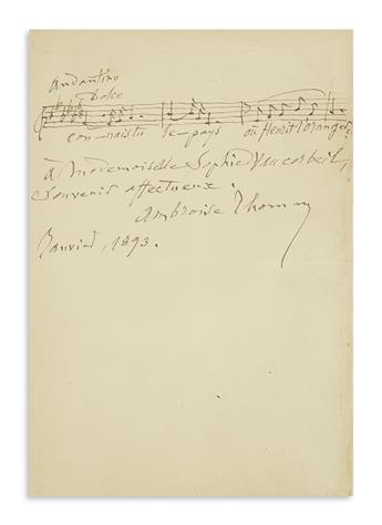 THOMAS, AMBROISE. Two items: Autograph Musical Quotation Signed and Inscribed * Autograph Letter Signed.