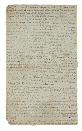 DE QUINCEY, THOMAS. Autograph Manuscript, unsigned, fragmentary notes on Edward Hyde Clarendons History of the Rebellion.