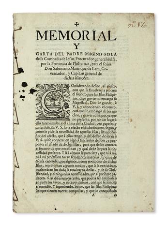 PHILIPPINES  SOLÁ, MAGINO, S. J. Memorial y Carta del Padre Magino Sola de la Compañía de Jesus. 1652