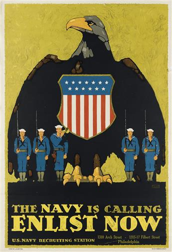 L.N. BRITTON (1858-1934). THE NAVY IS CALLING / ENLIST NOW. Circa 1917. 40x28 inches, 103x71 cm. The W.F. Powers Co., New York.
