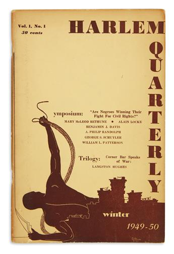 (LITERATURE.) 4 magazines featuring works by Langston Hughes, including Harlem Quarterly #1.