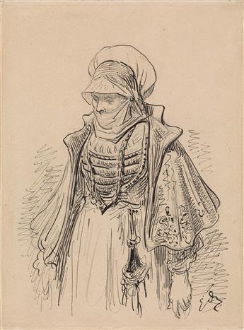 GUSTAVE DORÉ (Strasbourg 1832-1883 Paris) A Veiled Woman in Renaissance Dress.