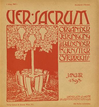 (KLIMT, GUSTAV / VIENNA SECESSION.) Ver Sacrum. 12 issues (including Sonderheft) for 1898.