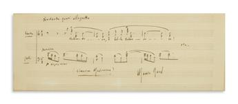 RAVEL, MAURICE. Two items: Autograph Musical Quotation Signed * Autograph Letter Signed.