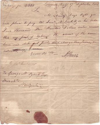 BURR, AARON. Document Signed, A. Burr, bill of exchange requesting that George M. Ogden pay $4,500 to Samuel N. Luckett in 90 days.