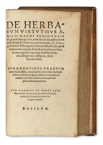 MACER FLORIDUS [pseud. of Odo of Meung?], attributed to. De herbarum virtutibus. 1581 + MORATA, OLYMPIA FULVIA. Opera omnia. 1580