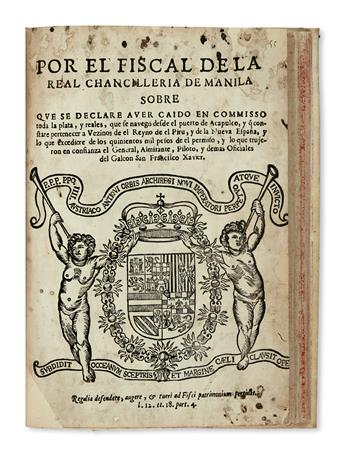 PHILIPPINES  MISCELLANEOUS.  Bound volume containing 6 pamphlets, the first 5 dealing with contemporary Philippine affairs. 1600s