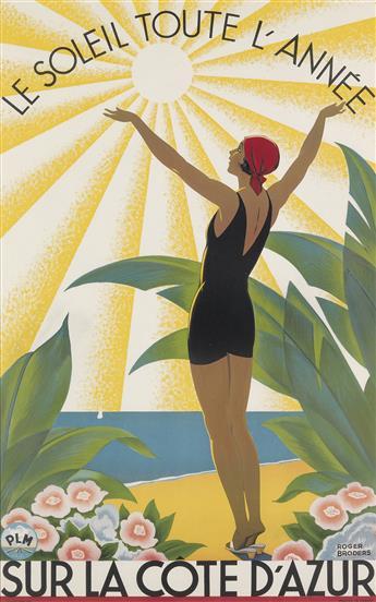 ROGER BRODERS (1883-1953). SUR LA COTE DAZUR. Circa 1931. 39x24 inches, 99x61 cm. Lucien Serre, Paris.