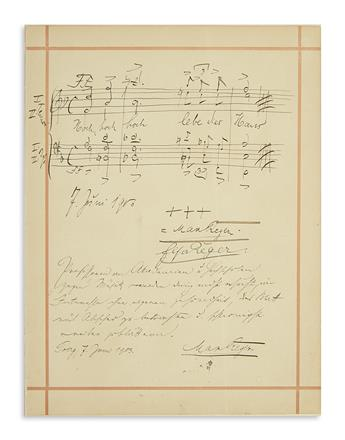 REGER, MAX. Two items on the same sheet, each dated and Signed: Autograph Musical Quotation * Autograph Manuscript.