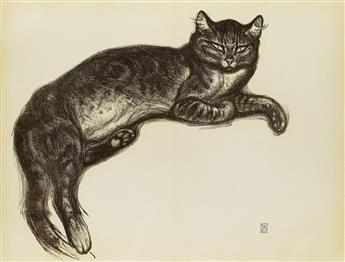 THÉOPHILE-ALEXANDRE STEINLEN (1859-1923). [LHIVER, CHAT SUR UN COUSSIN.] 1909. 19x25 inches, 49x65 cm.