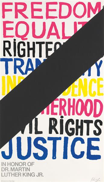PETER GEE (1932-2005). FREEDOM EQUALITY RIGHTEOUSNESS / IN HONOR OF DR. MARTIN LUTHER KING JR. 1968. 45x25 inches, 115x65 cm.