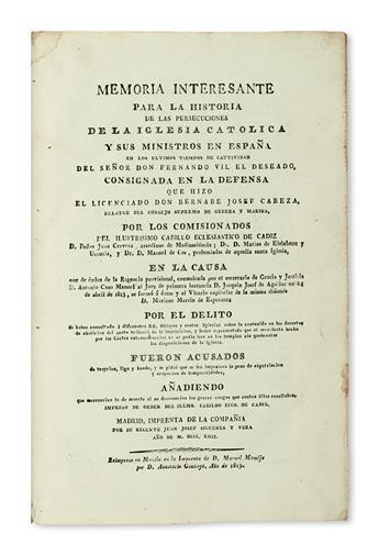 PHILIPPINES  CABEZA DE LUNA. Memoria Interesante para la Historia de las Persecuciones de la Iglesia Católica [etc.]. 1819