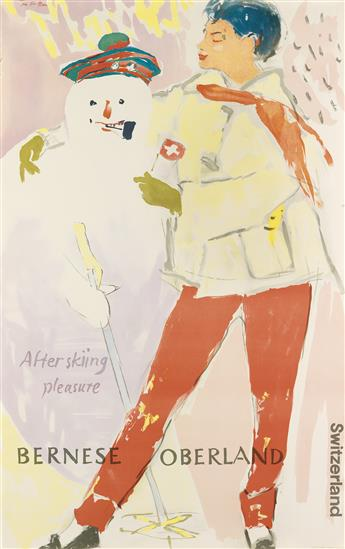 HANS FALK (1918-2002). BERNESE OBERLAND / AFTER SKIING PLEASURE. 1949. 40x25 inches, 103x64 cm. J.C. Müller, Zurich.