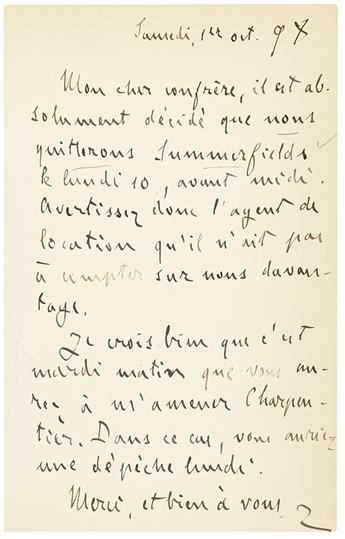 ZOLA, ÉMILE. Autograph Letter Signed, Z, to My dear colleague, in French,