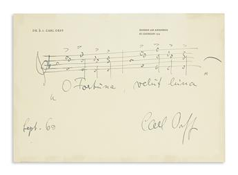 ORFF, CARL. Autograph Musical Quotation dated and Signed, two bars from O Fortuna in his cantata Carmina Burana,