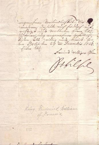 FRIEDRICH WILHELM I. Letter Signed, FrWilhelm, to an unknown recipient of royal descent (highborn prince), in German,