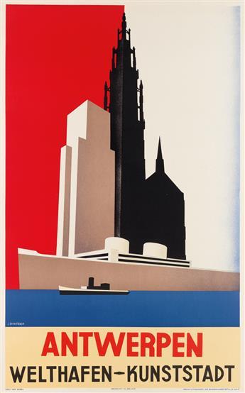 JOZEF WINTERS (1911-1981). ANTWERPEN / WELTHAFEN - KUNSTSTADT. Circa 1935. 39x24 inches, 99x61 cm. Lithocart, Belgium.